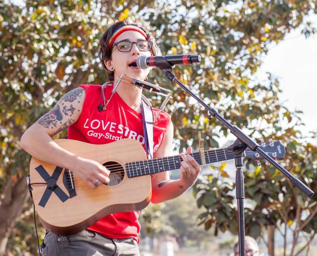 Ryan Cassata performing at the Trans March