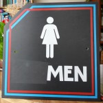 Restroom sign, altered