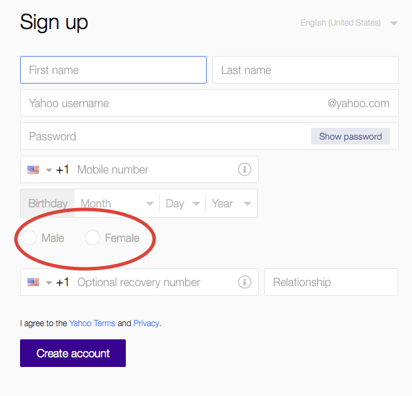 Yahoo signup page