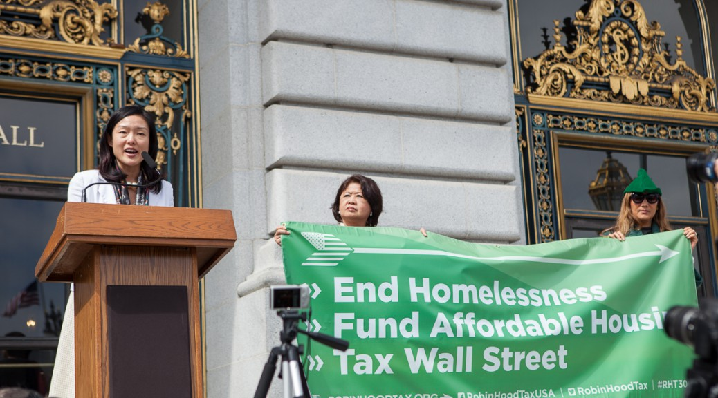 Robin Hood Tax rally at SF City Hall