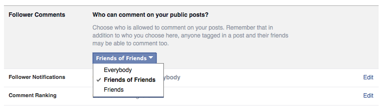 Facebook comment settings for public posts