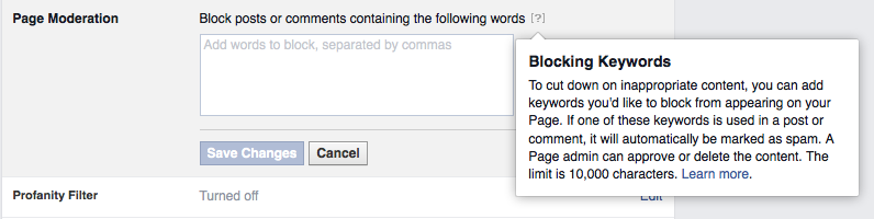 Facebook page moderation - blocking keywords