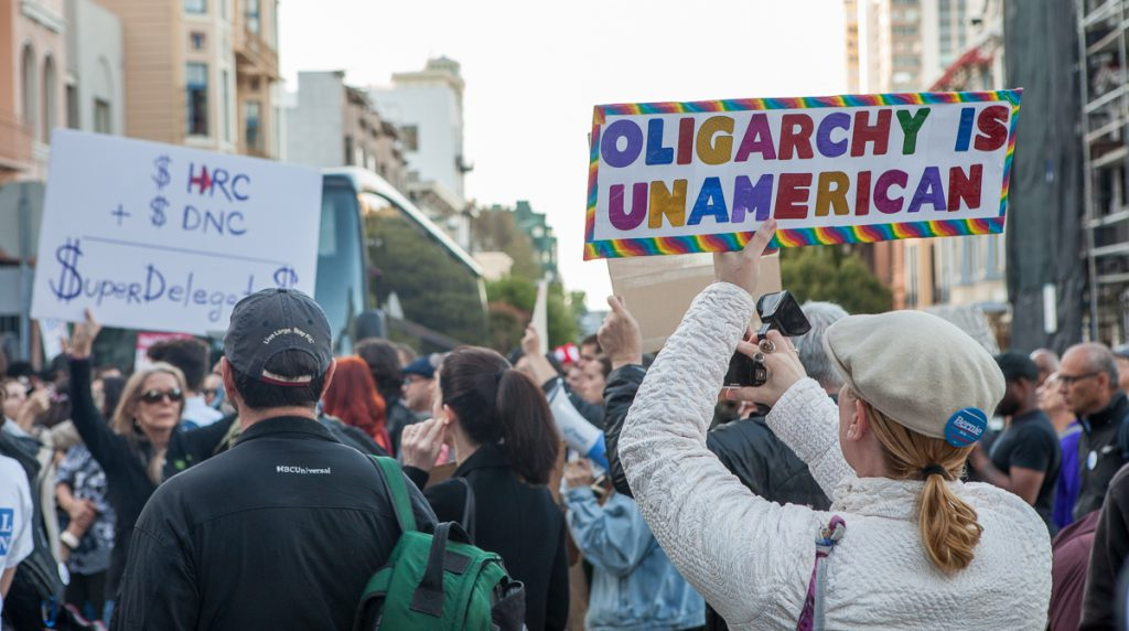 Protesters on Nob Hill
