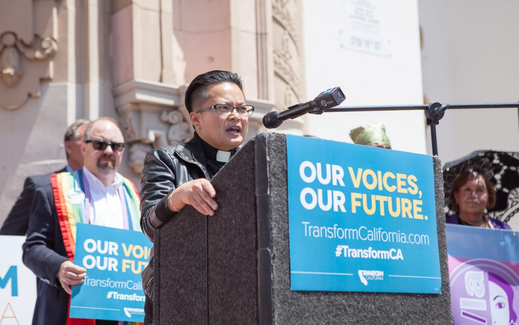 Rev. Jeanelle Nicolas Ablola at Transform California rally