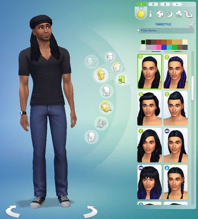 Pax Sim with long locs