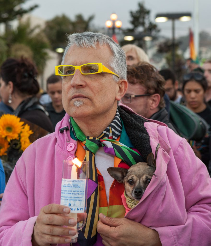 Vigil with dog in the Castro
