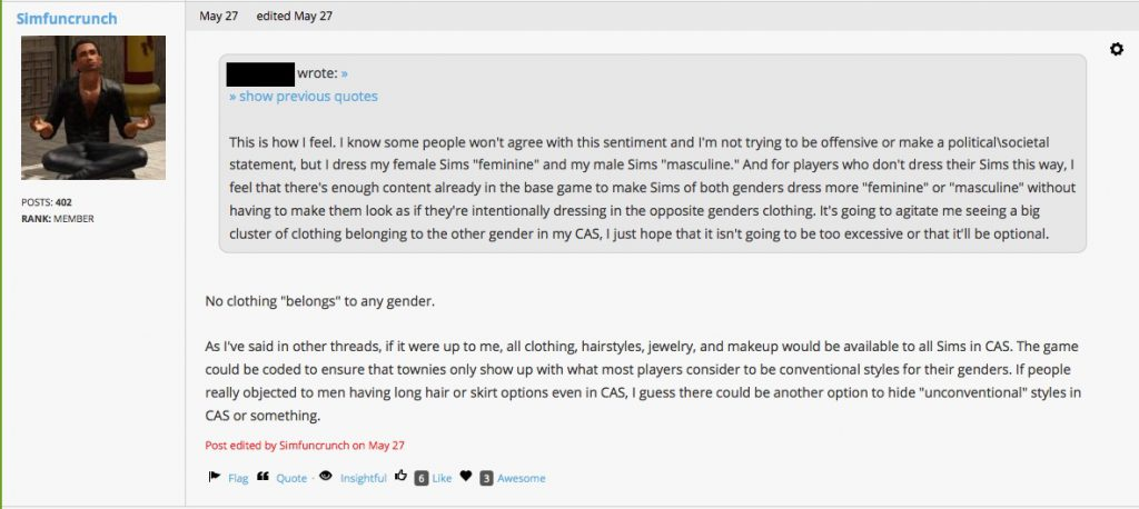 Sims forum comment on gender