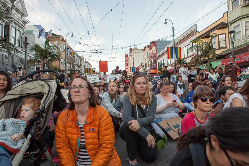 Trump protest - Sit-in in the Castro