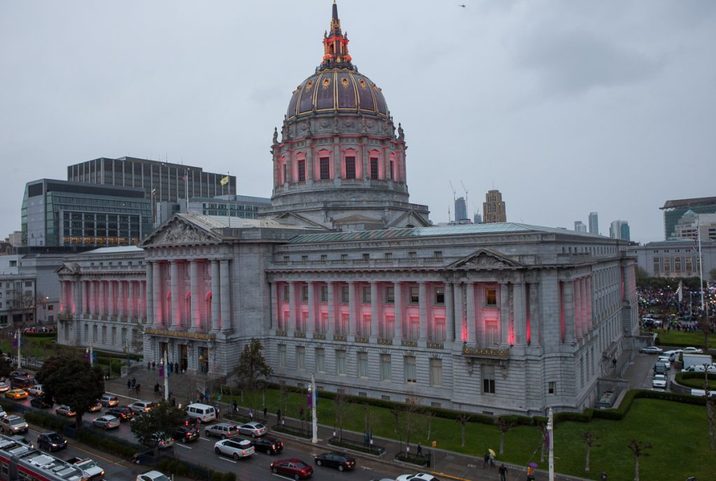SF City Hall in pink