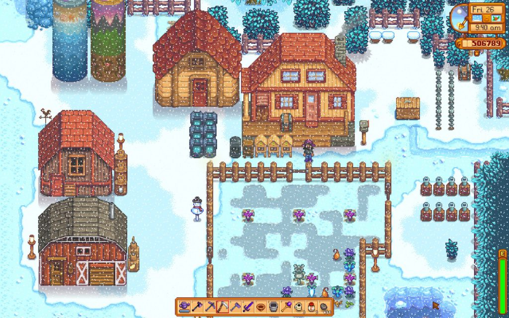 Stardew Valley farm in winter