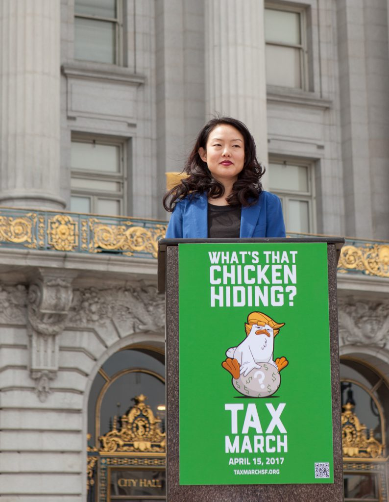 Jane Kim at the Tax March rally