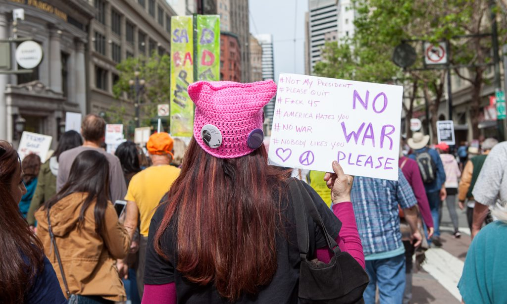 Tax marcher in pussyhat