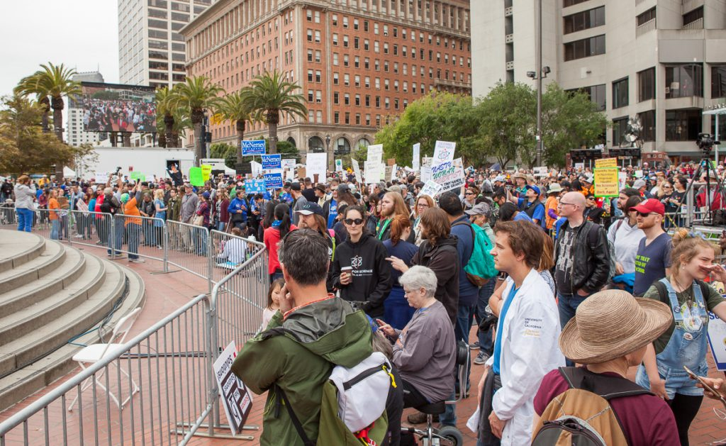 Crowd at Justin Herman Plaza