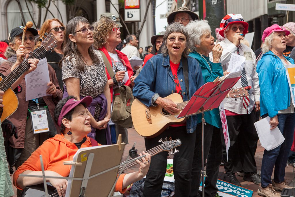 Folk singers at March for Science