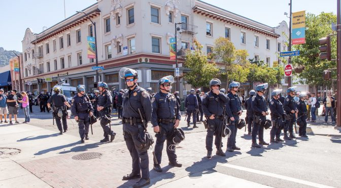 Berkeley police at protest