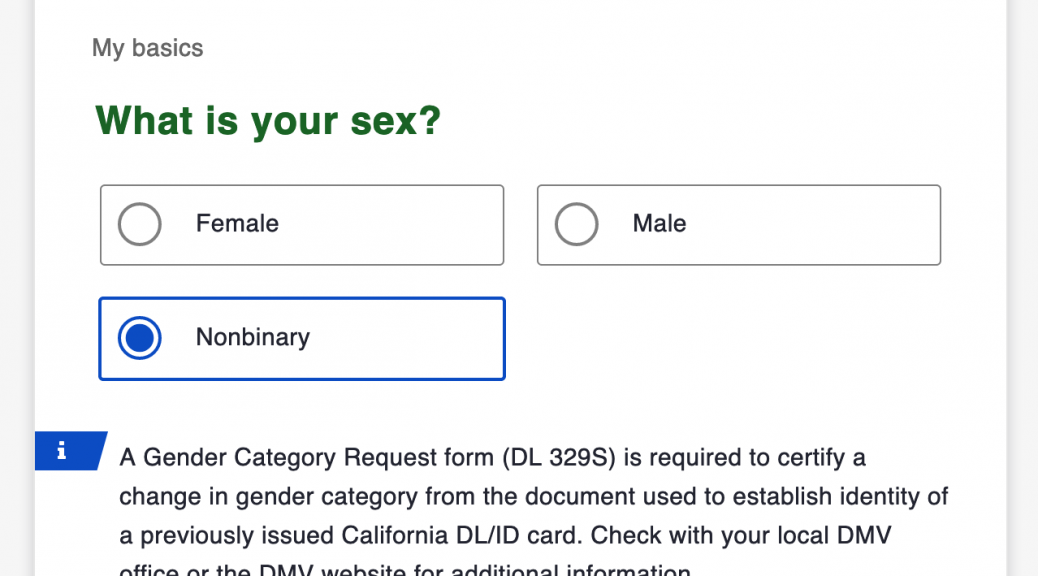 What is your sex? Female, Male, Nonbinary
