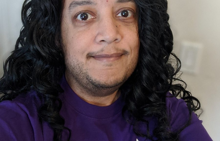 Pax with wig and Trans March T-shirt