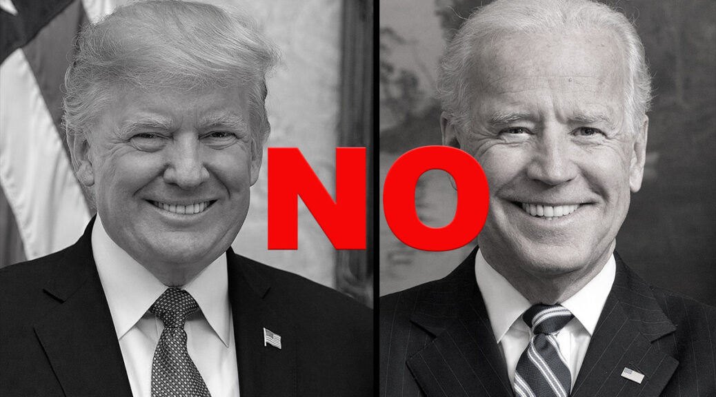 Side-by-side official portraits of Donald Trump and Joe Biden, desaturated and with the word NO in red text superimposed.