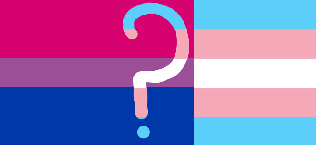 Bi and trans flags overlapped with question mark